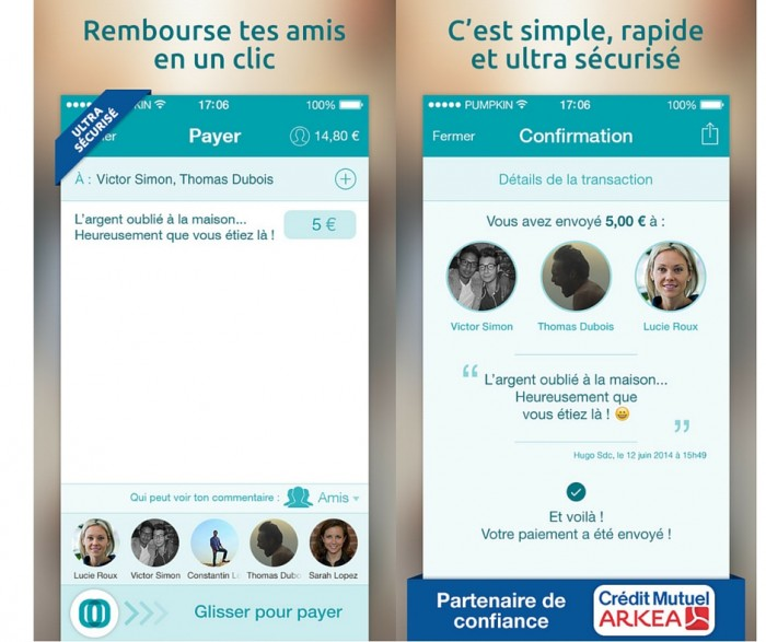 Pumpkin application de paiement mobile entre particuliers